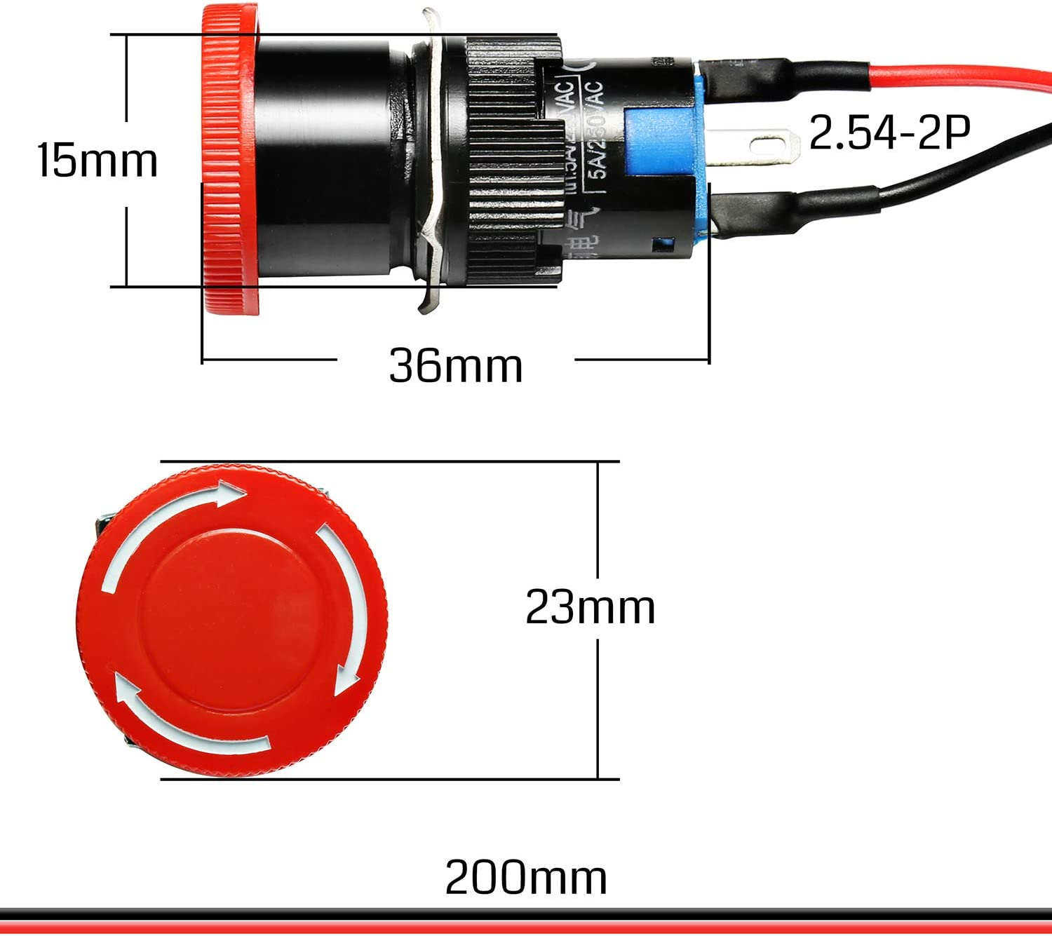 Genmitsu CNC Router Emergency Stop Switch Push Button for 3018-MX3//3018-PROVer