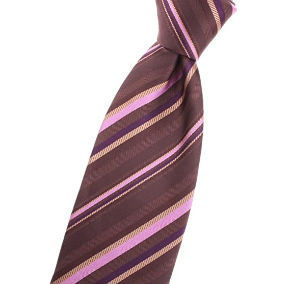 c8fb54966372 Neck tie with gold, pink, brown, purple, striped/stripes pattern ...