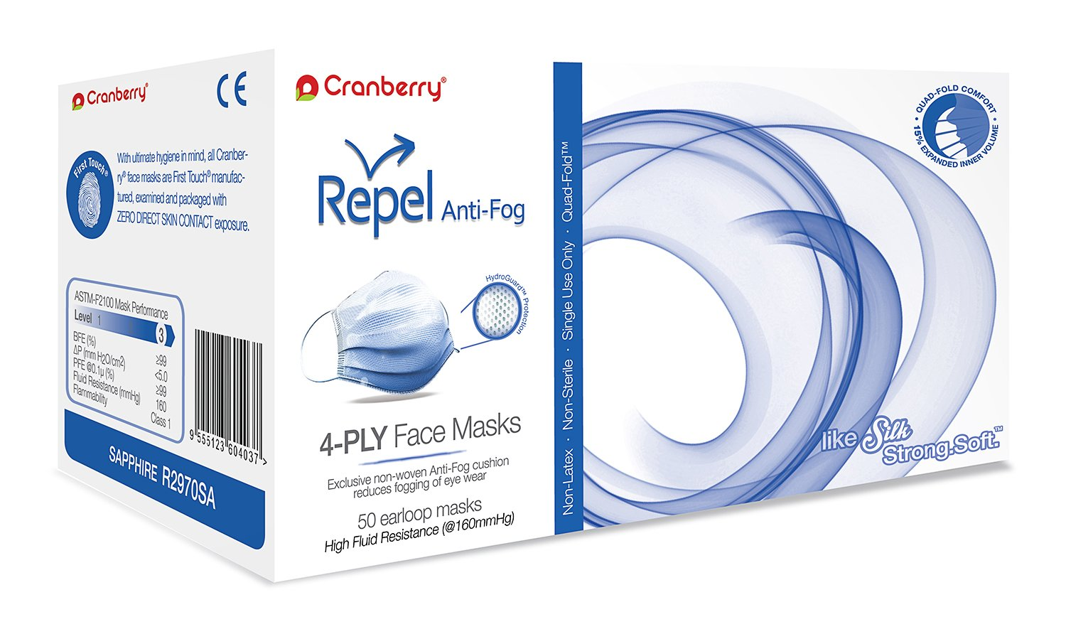 Cranberry USA R2970SAcase Repel 4-Ply Ear Loop Face Mask, Anti-Fog, ASTM Level 3, Sapphire (Pack of 400)