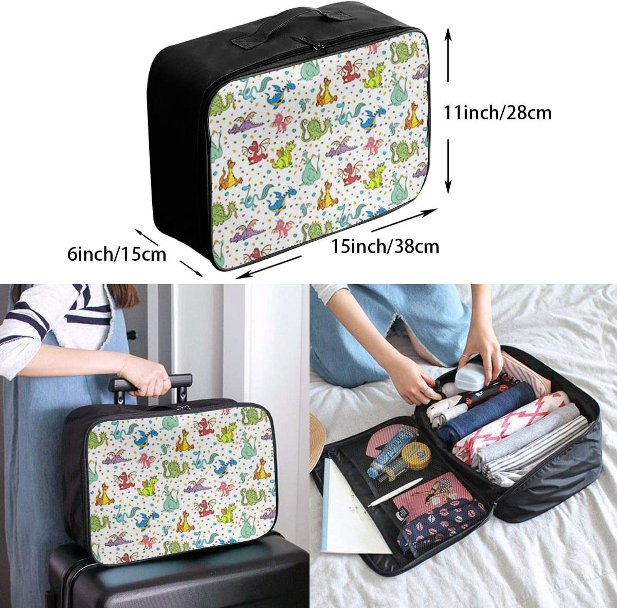 Dragons Travel Carry-on Luggage Weekender Bag Overnight Tote Flight Duffel In Trolley Handle