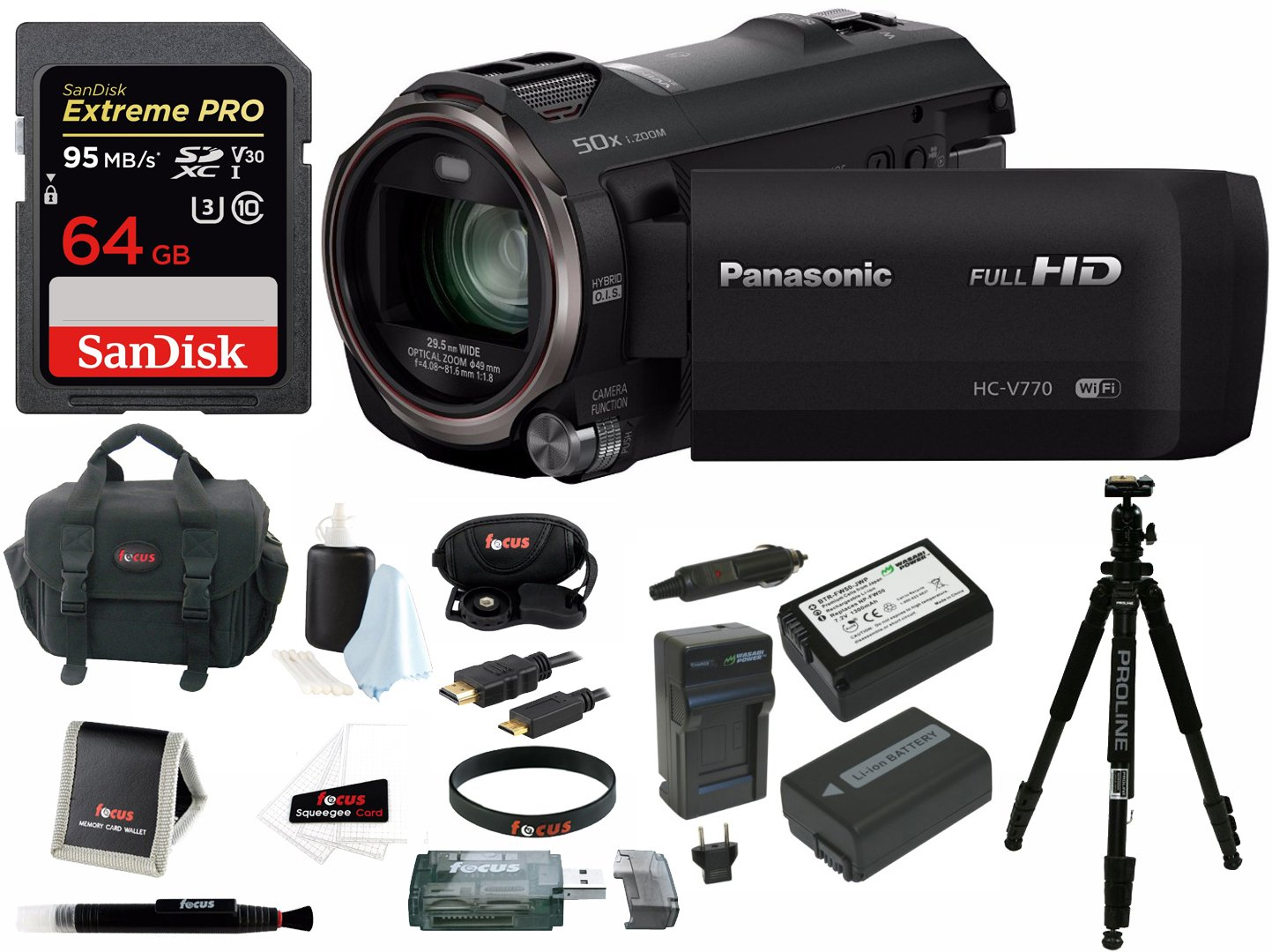Panasonic HC-V770 HD Camcorder Bundles (64GB Pro Kit)