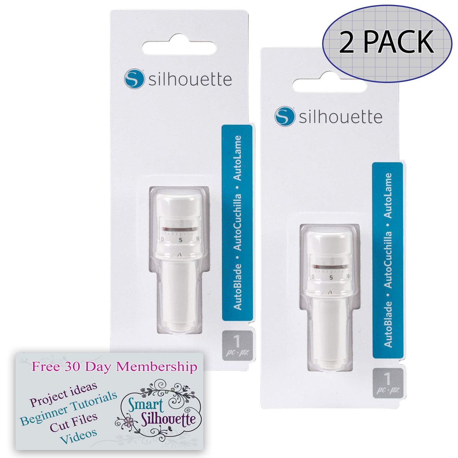 Silhouette Autoblade Replacement for Cameo 3 and Portrait 2 (2 Pack) with 30 Day Subscription to Smart Silhouette