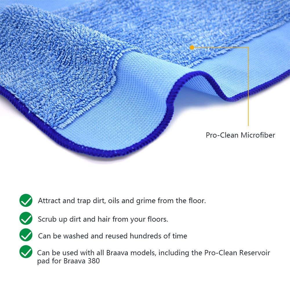 FJROnline - Almohadillas de microfibra para mopa húmeda y seca, lavables, reutilizables, repuesto para robot limpiador iRobot Braava 380 380t 320 321 Mint ...