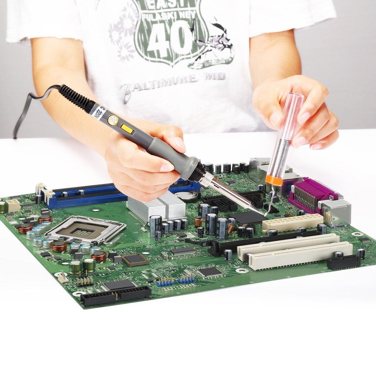 Powerextra 18PCS Fer à Souder Souder Kits Électrique 60W 220V Température Réglable Outil de Soudage 6pcs, Ventouse, Support de Fer à Souder, Fil de Soudure, Pincette Support et Boîte à Outils