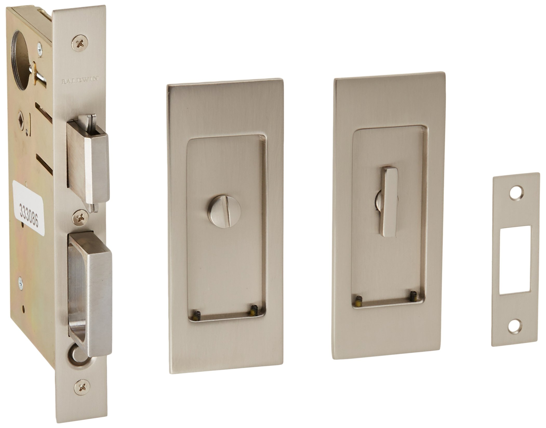 Baldwin PD006.PRIV Santa Monica Privacy Pocket Door Set with Door Pull from the, Satin Nickel by Baldwin (Image #1)