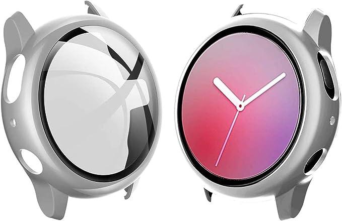 Jvchengxi Funda Protectora para Samsung Galaxy Watch Active 2 40mm, Plata HD Cristal Templado Cubierta PC Protectora Protector Pantalla Carcasa, Funda de Samsung Galaxy Watch Active 2: Amazon.es: Electrónica