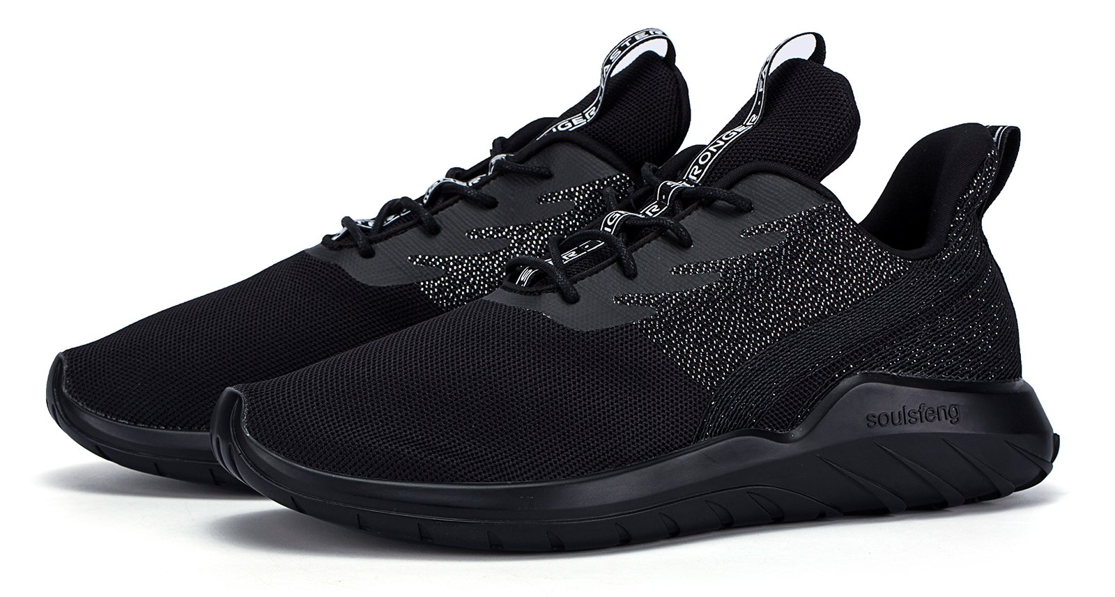 Soulsfeng Men\'s Breathable Athletic Sports Shoes Lightweight Casual Fashion Sneaker (US8=EUR41=26CM, Black)