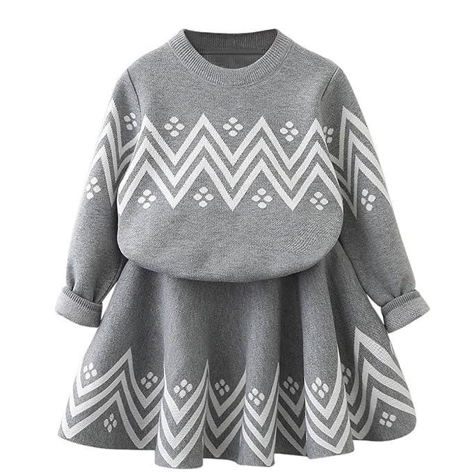 Amazon.com: Niños bebé niña falda conjuntos de punto jersey ...