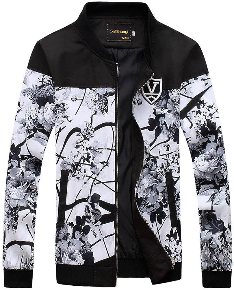 QZUnique Men's Fashion Print Jacket Long Sleeve Zip Front Coat SN-522-JK77-1