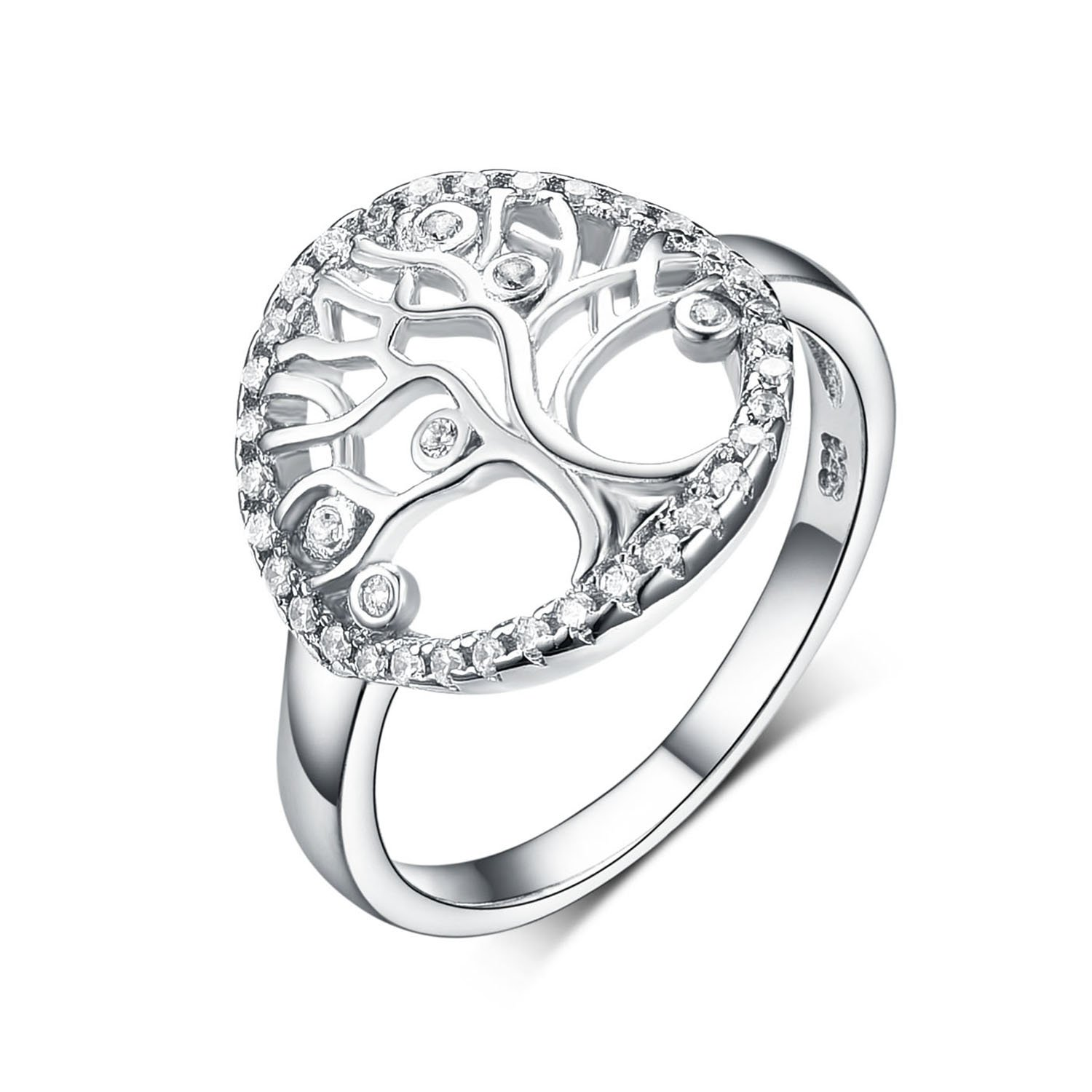 925 Sterling Silver Family Tree of Life Enggement Zircon Wedding Rings Anniversary rings for women