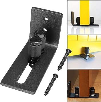 TOPWA - Rodillo de guía de suelo multifuncional, guía de suelo, canal ajustable para puerta de madera con tornillos para puertas correderas, color negro: Amazon.es: Bricolaje y herramientas