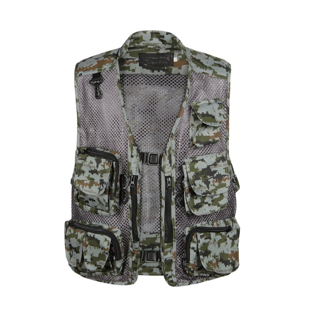 EVEDESIGN Mens Quick-Dry Mesh Fishing Vest Multi Pocket Travel Photography Outdoor Jacket