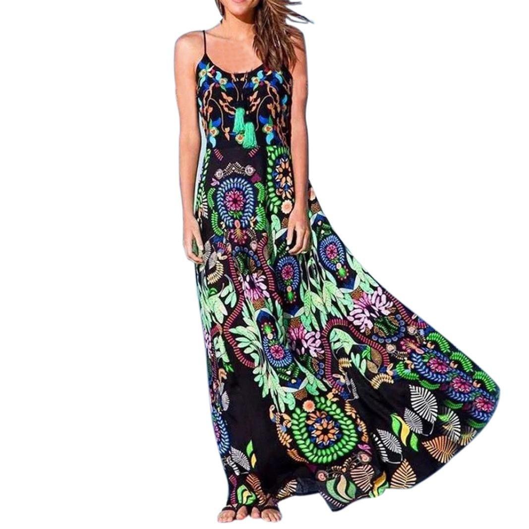Kinrui Summer Dress for Women,Bohemian Floral Print Sling Sleeveless Long Beach Dress (Green, XL)