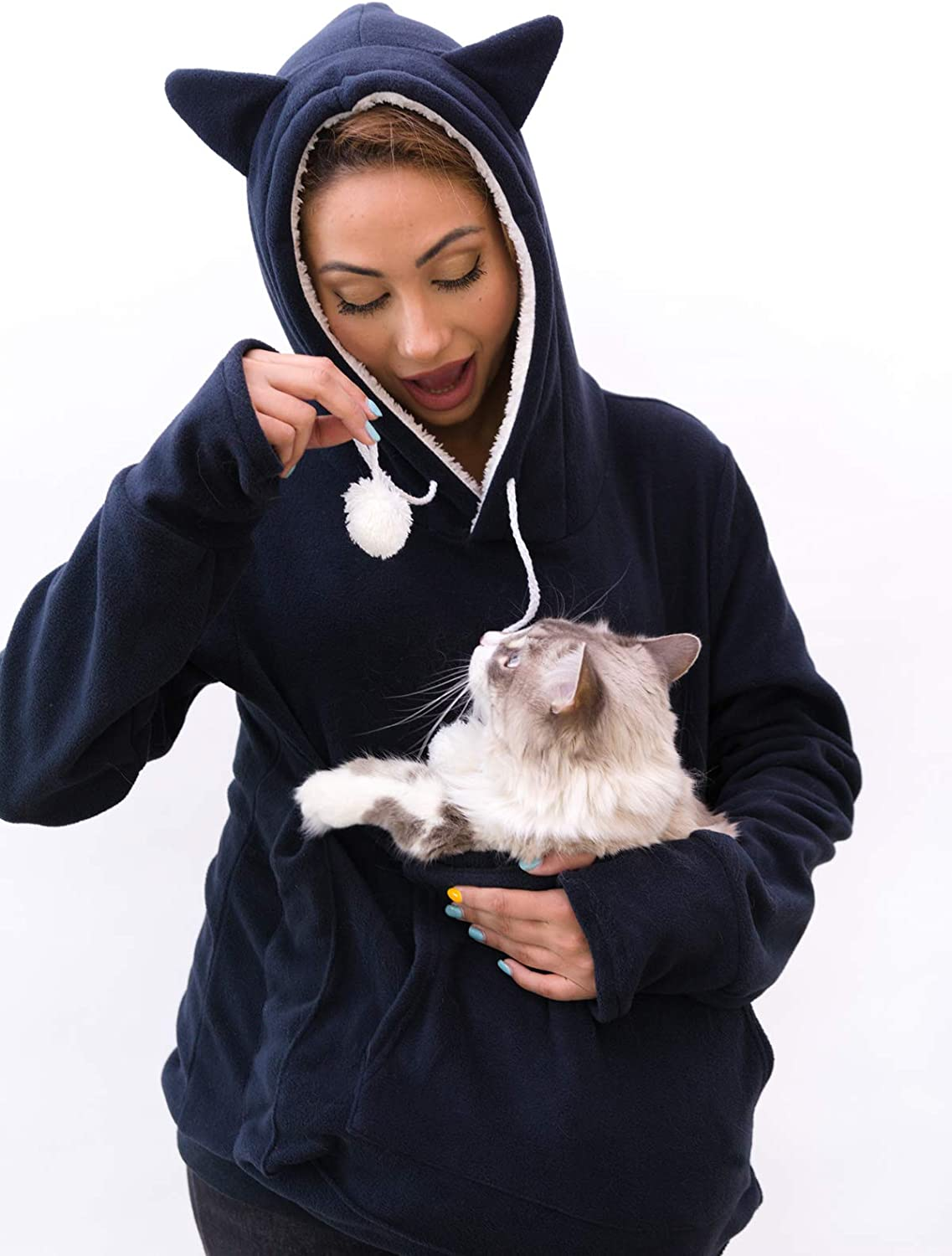 KangaKitty Hoodie Pet Holder Cat Dog Large Pouch Pocket Carriers Pullover with Cat Print Sweatshirt Unisex Kangaroo Pocket Small Animals