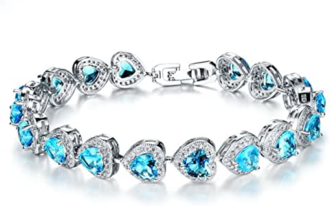 925 Sterling Silver Bracelet with Blue Sparkling Cubic Zirconia Stones for Women Girls for Her 18cm