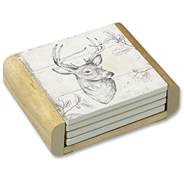 CounterArt 3 Point Buck Sketch Absorbent Coasters in Wooden Holder, Set of 4
