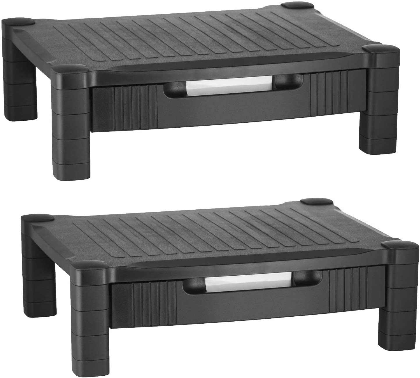 Monitor Stand Riser Computer Desk Organizer with Pull Out Drawer - for Laptop, Screen, Printer, Keyboard, Tablet, Cable Management Storage - Plastic | Black - 2 Pack