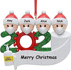 MZSEN Christmas Decorations Indoor, 2020 Christmas Ornament Quarantine Survivor Personalized Decorating Gifts Customized Party Decor for 1-7 Family Members (Family of 4)