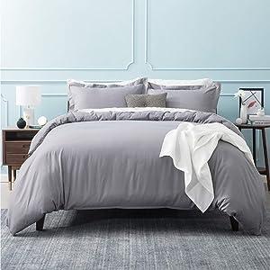 Bedsure Duvet Cover Queen Set Grey-Comforter Cover Queen Bedding Set with Corner Ties Zipper Closure 90x90 Inch 3PCs