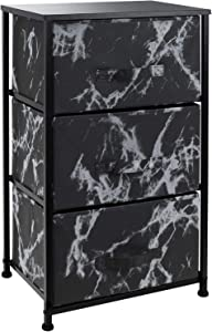 Sorbus Nightstand with 3 Drawers - Bedside Furniture & Night Stand End Table Dresser for Home, Bedroom Accessories, Office, College Dorm, Steel Frame, Wood Top (Marble Black – Black Frame)