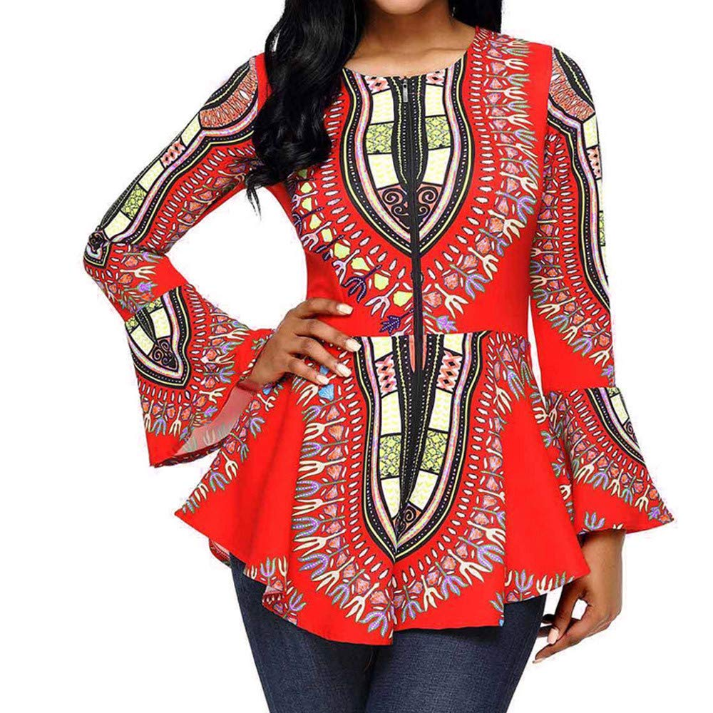 Spbamboo Women Tops Asymmetric Hem Long Sleeve Printed Zipper Closure Blouse