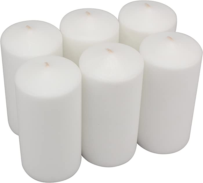 Stonebriar Tall 3 x 6 Inch Unscented White Pillar Candle Set, Candle Decor for Lanterns, Hurricanes, and Centerpieces, Set of 6