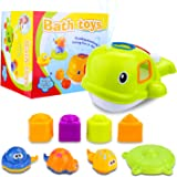 Toy Choi's Baby Bath Toys, Educational Whale Bathtub Toys Set for Children Toddlers Kids Boys Girls, Green