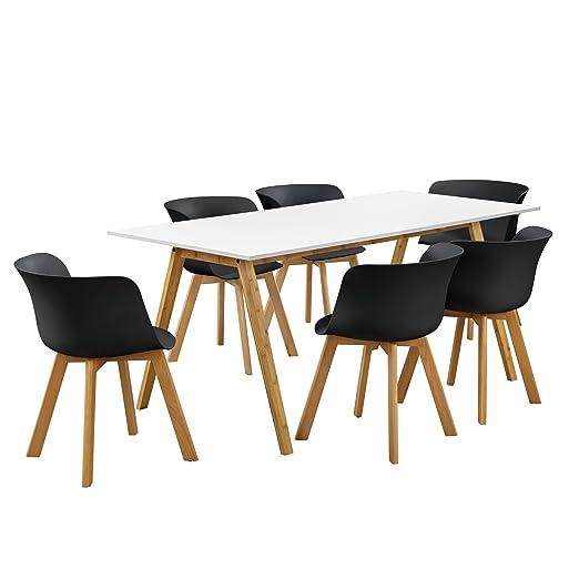 en.casa]®] Mesa de Comedor con 6 sillas - Blanco/Negro 180x80 ...