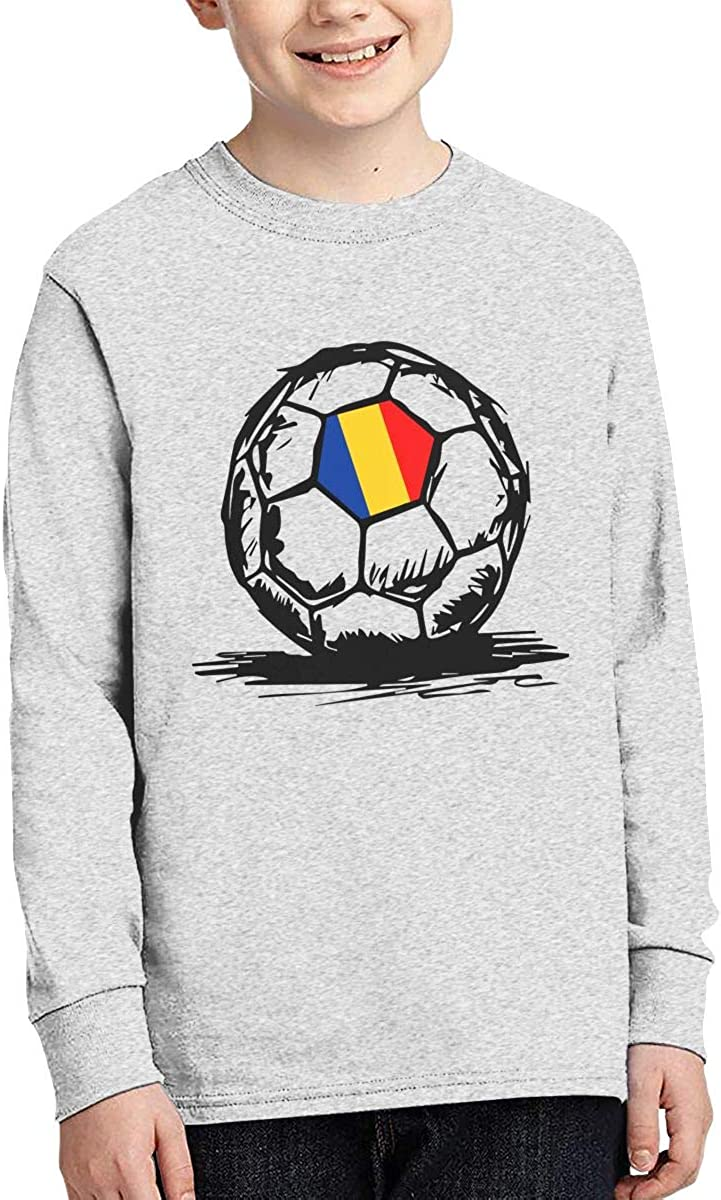 Teenagers Teen Girl Romanian Flag On Soccer Ball-1 Printed Long Sleeve 100/% Cotton T Shirts