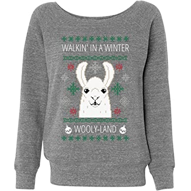 0054c4f3d1f1d Customized Girl Llama Ugly Sweater Wooly-Land Pun: Ladies Triblend Wideneck  Sweatshirt at Amazon Women's Clothing store: