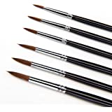 Artist Paint Brushes-6Pcs Weasel Sable Hair Paintbrush Set For Watercolor/Oil/Acrylic/Crafts