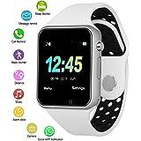 IOQSOF Reloj Inteligente con Bluetooth, Resistente al Agua, con Pantalla táctil, teléfono Desbloqueado, Reloj de Pulsera Inteligente Color Blanco Plateado, M3 Blanco y Plateado