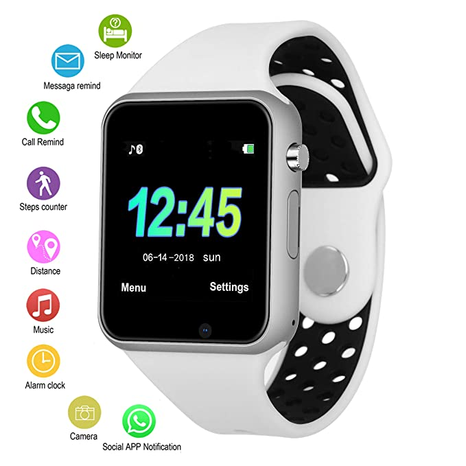 Bluetooth Smart Watch Camera Waterproof Smartwatch Touch Screen Phone Unlocked Cell Phone Watch Smart Wrist (White Silver Color, M3 White Silver ...