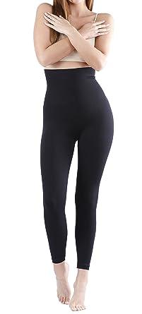 809ffd6160c356 Yenita High Waist Slim Leggings Black Tummy Control Body Shaping (M, Black)