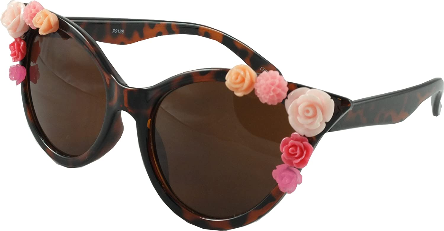 84ab22fe98 50 s Retro Cat Eye Style Flower Sunglasses - Tortoiseshell  Amazon.co.uk   Clothing