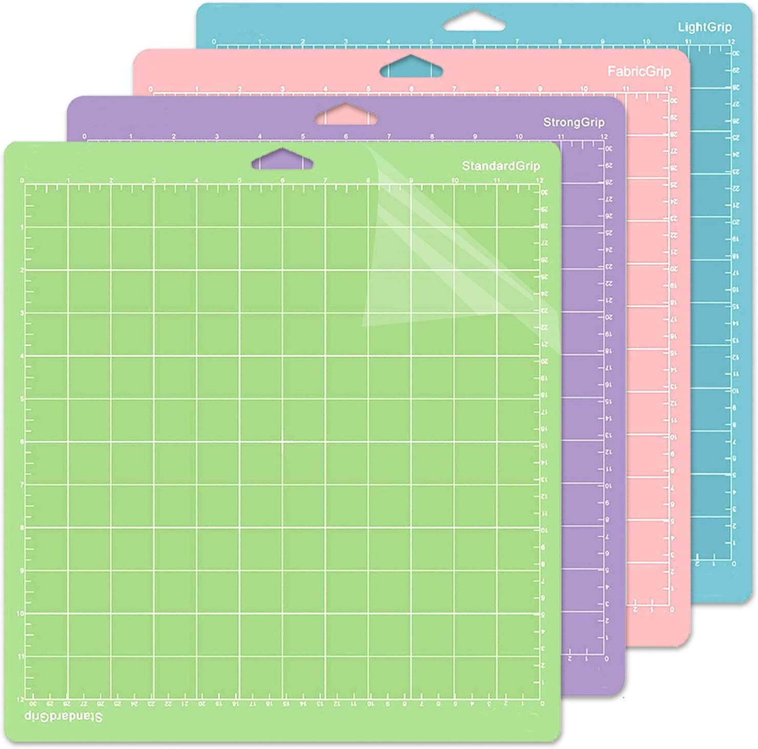 3 Pack Flexible Square Gridded Quilting Cut Mats Replacement for Crafts、Sewing and All Arts.(Variety Ecraft 12X12 Cutting Mat for Cricut Include StrongGrip//StandardGrip//LightGrip