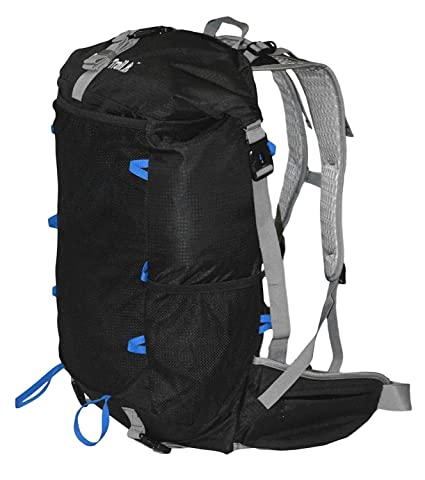 GoBackTrail Roll Top Black Backpack - Ultralight 25L - 40L with Removable  Internal Frame – Always The Right Size - Water Resistant – Comfortable for Men  and ... baa572a490420