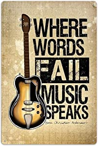 """NaCraftTH Where Words Fail, Music Speaks Metal Iron Tin Sign Music Quote Guitar Retro Classic Vintage Hanging Wall Art for Pub Bar Home Decor, 8""""x12"""""""