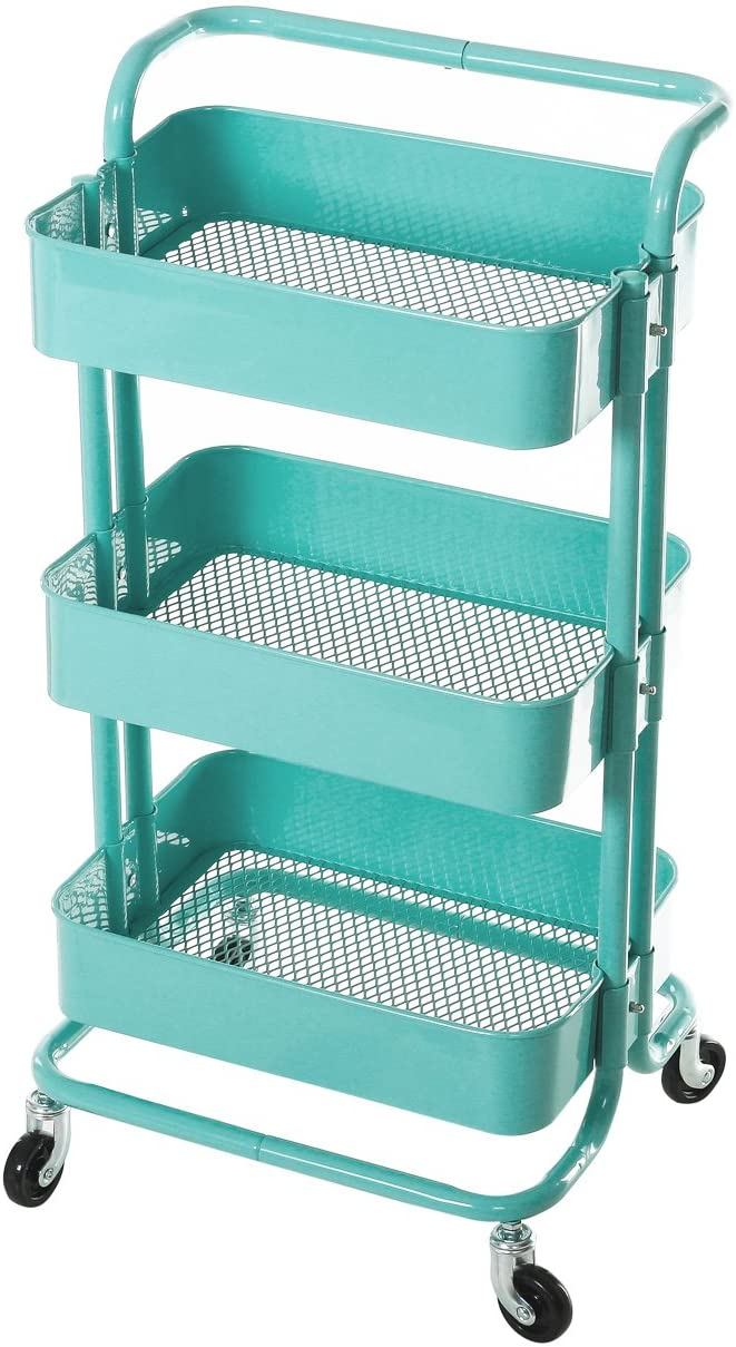 HollyHOME 3-Tier Metal Utility Service Cart Rolling Storage Shelves with Handles, Blue Storage Utility Cart : Office Products