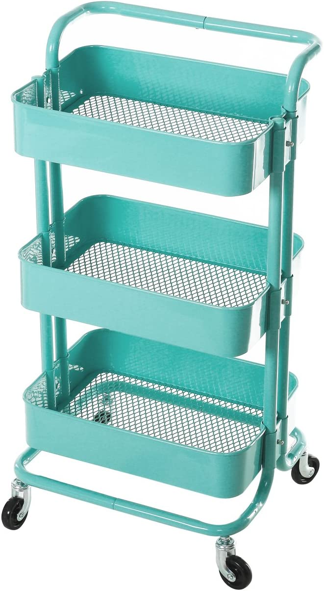Amazon Com Hollyhome 3 Tier Metal Utility Service Cart Rolling Storage Shelves With Handles Storage Utility Cart Blue Office Products