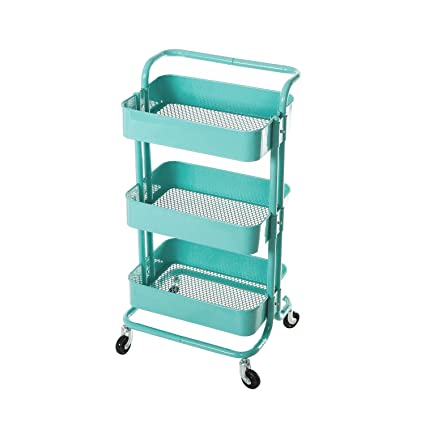 hollyhome 3 tier metal utility service cart rolling storage shelves with handles blue storage - Rolling Utility Cart