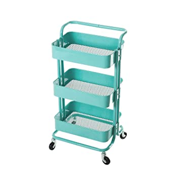 HollyHOME 3 Tier Metal Utility Service Cart Rolling Storage Shelves With  Handles, Blue Storage