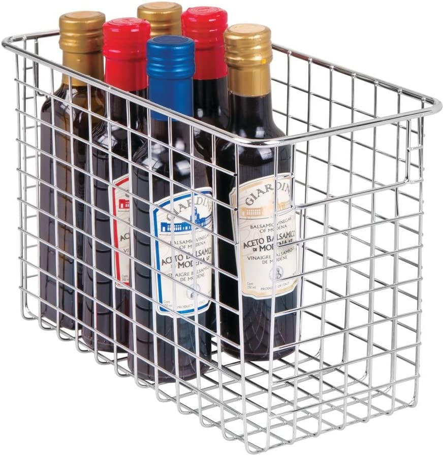 "mDesign Household Metal Wire Storage Organizer Bins Basket with Handles for Kitchen Cabinets, Pantry, Bathroom, Landry Room, Closets, Garage - 12"" x 6"" x 8"", Chrome"