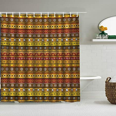 Zormiey Shower Curtain Tribal Art With Abstract Pattern Ancient Indigenous Motif With Native Symbol Printed Pattern Waterproof Shower Curtains Bath Curtain For Bathroom With 12 Hooks 180x180cm Amazon Co Uk Kitchen Home