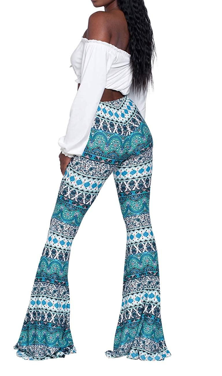 0258aef446 Women's Sexy Glitter Sequin Wide Leg Color Block Bell Bottom High Waisted  Flared Stretch Palazzo Pants Plus Size at Amazon Women's Clothing store: