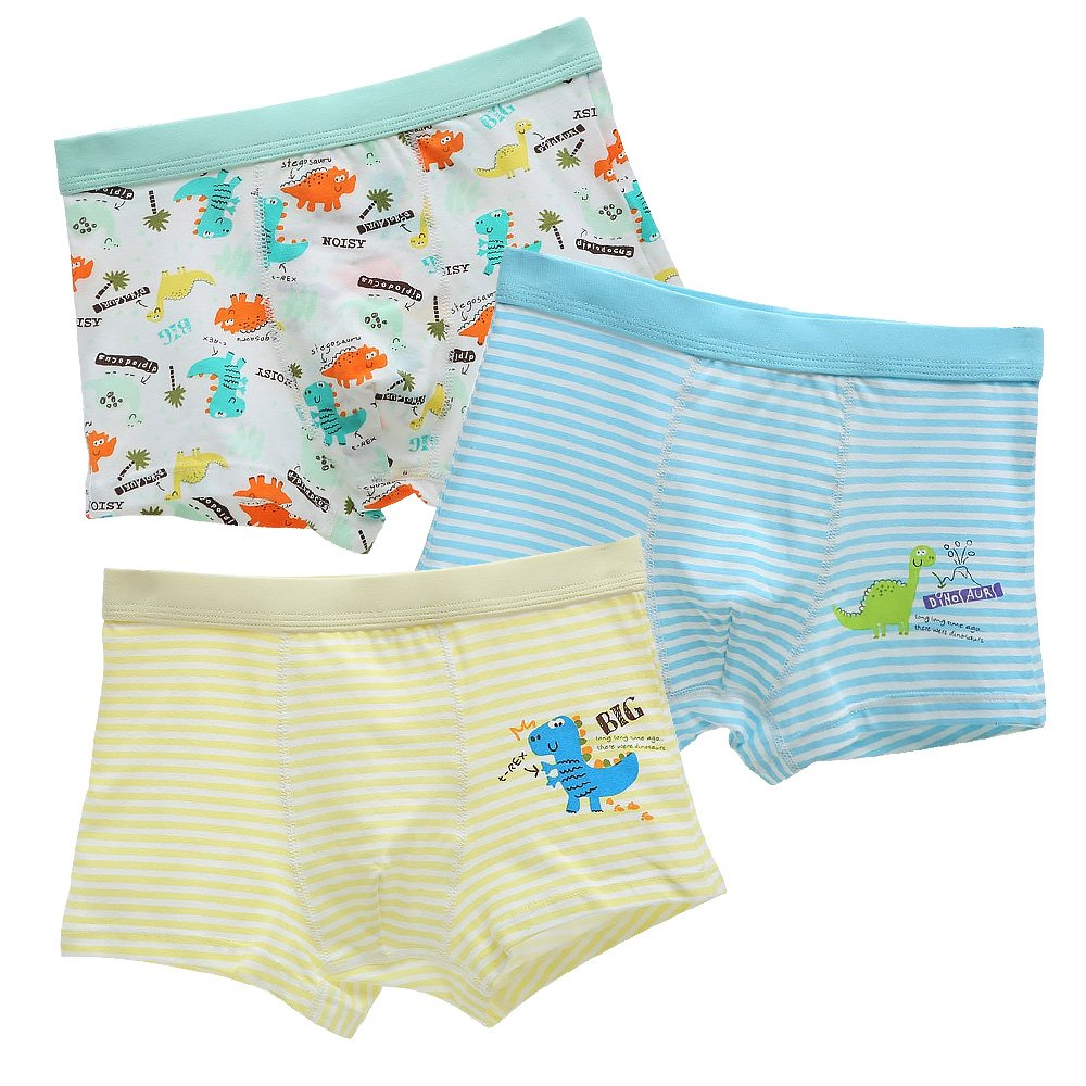 BOOPH Boys Boxer Briefs Cotton Striped Cartoon Dinosaur Toddler Underwear 3 Pack 2-8 Years