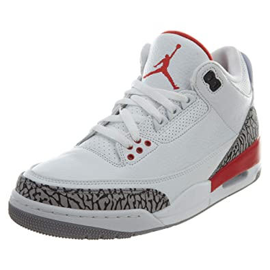 9dd38b6c843 Nike Men's Air Jordan 3 Retro White/Red-Grey-Black Basketball Shoes ...