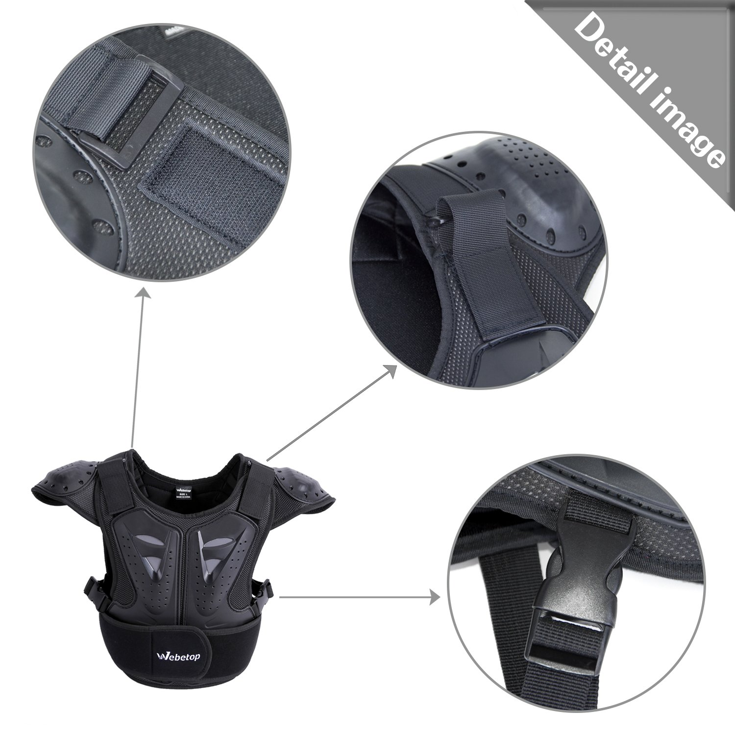 Webetop Kids Dirt Bike Body Chest Spine Protector Vest Protective for Dirtbike L by Webetop (Image #4)