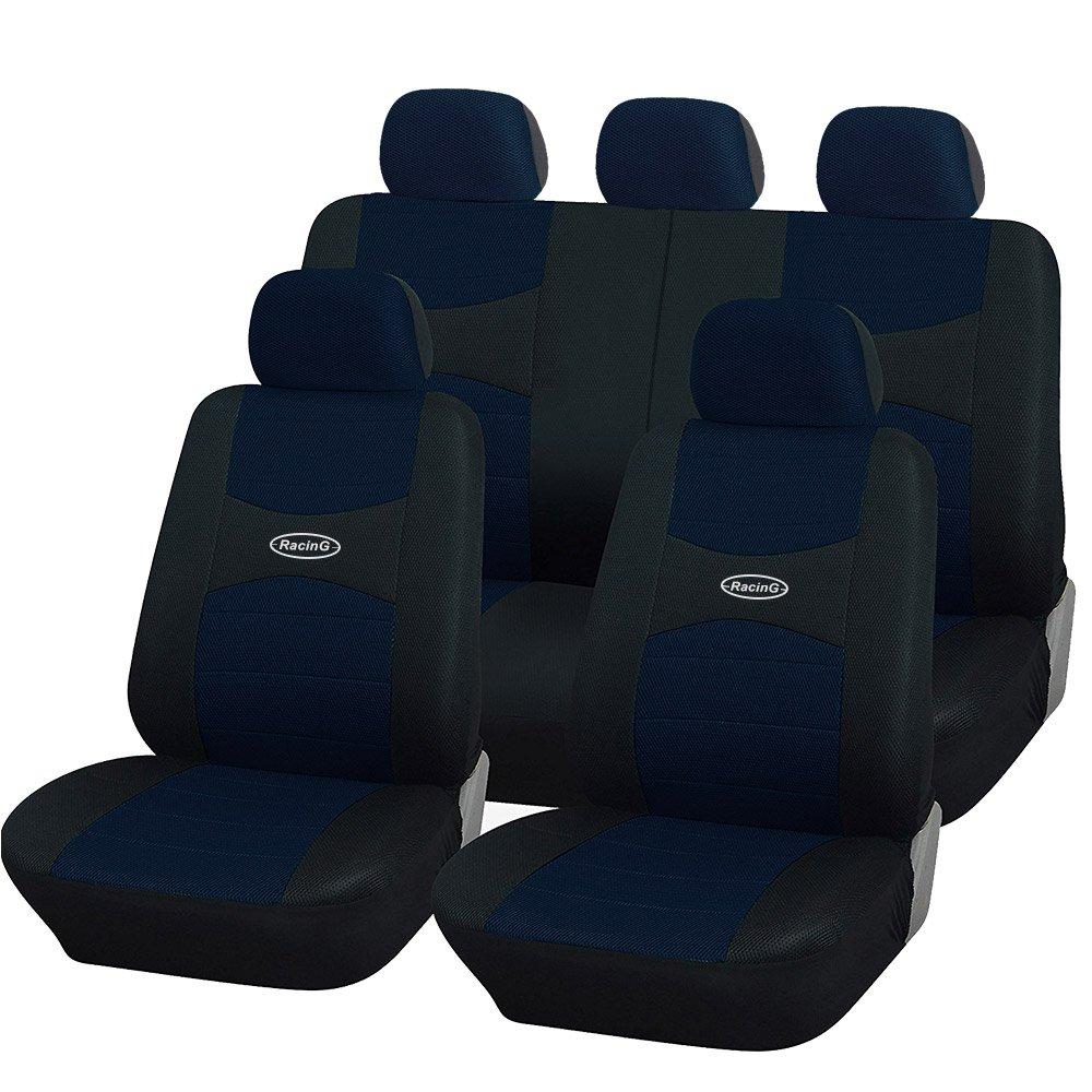 Coprisedili auto universali con copri volante e copri cintura in tinta con i sedili - A19 (Grigio/Nero) Rebeca Shop