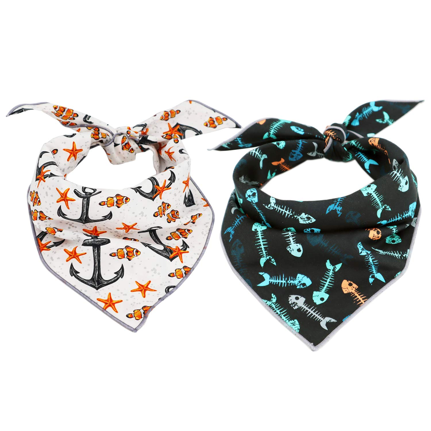 Dog Bandanas 2PCS Triangle Fashion Printing Dog Kerchief Set Scarfs Accessories For Dogs Cats Pets(L) by T.A. Bird